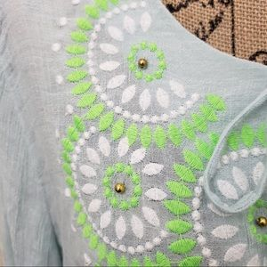 Gibson Latimer Tops - Gibson Latimer embroidered floral long sleeve top